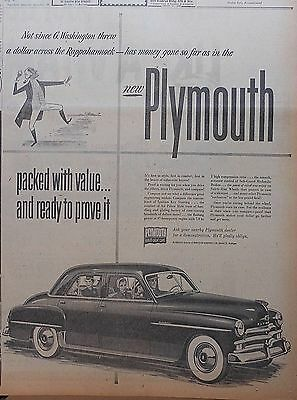 Large 1950 newspaper ad for Plymouth - Packed with value, G. Washington tosses $