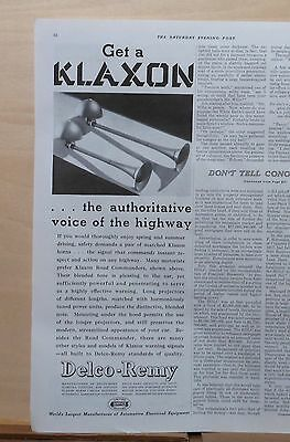 1937 magazine ad for Delco-Remy Klaxon Horns, Authoritative Voice of the Highway
