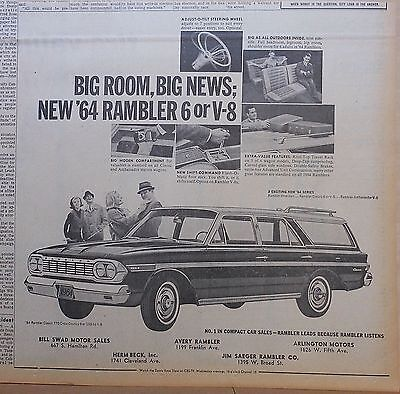 1963 newspaper ad for Rambler - 1964 Classic 770 Cross Country station wagon