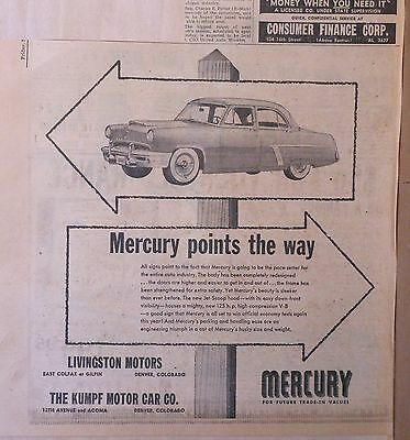 1952 newspaper ad for Mercury - Points The Way, Jet Scoop Hood, redesigned