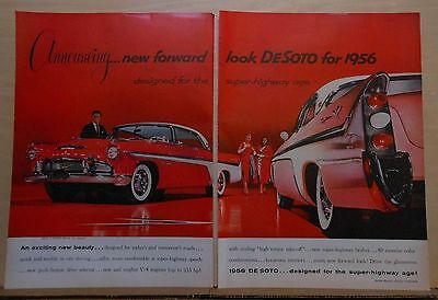 1955 two page magazine ad for DeSoto - Designed for Super Highway Age, Fireflite