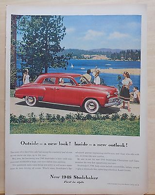 1948 magazine ad for Studebaker - red car at lake, New Look & Outlook!
