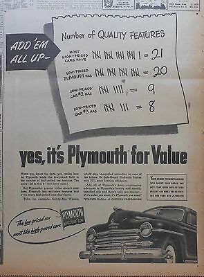 1947 large newspaper ad for Plymouth - Add'Em Up Quality Features, For Value