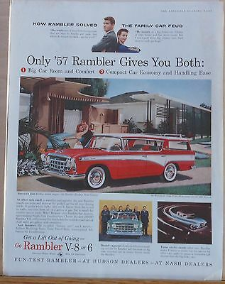 1957 magazine ad for Rambler - Cross Country Wagon, Solves Family Car Feud