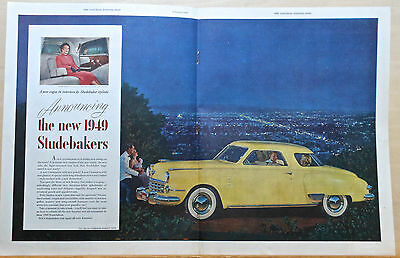 1949 double page magazine ad for Studebaker - yellow Commander Starlight Coupe