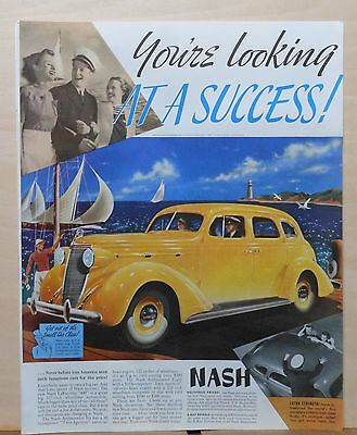 1937 magazine ad for Nash - Looking at Success, Lafayette 400 sedan at seaside