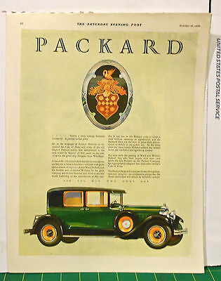 Vintage 1928 magazine ad for Packard - Ancient Heraldry of Packard crest