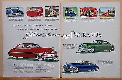 1949 two page magazine ad for Packard - Golden Anniversary Packards, colorful