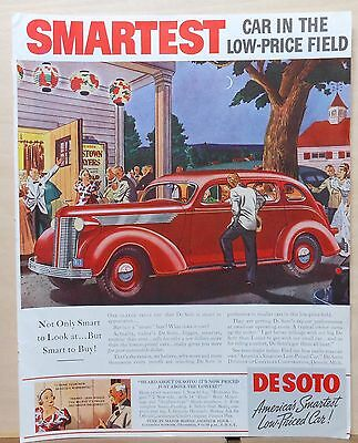 1937 magazine ad for DeSoto - red car at country playhouse, Smartest Car