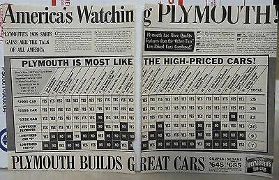 1939 two page magazine ad for Plymouth - chart of Plymouth vs. other cars