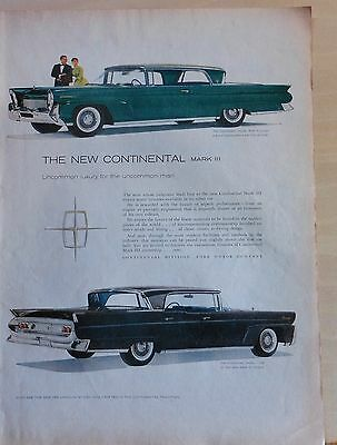 1958 magazine ad for Lincoln - Mark III Continental Landau, Continental Coupe