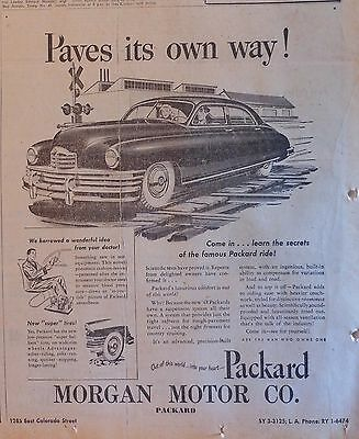 Vintage 1948 newspaper ad for Packard - Paves its Own Way! famous Packard ride