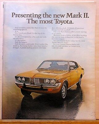 1972 magazine ad for Toyota Mark II - The Most Toyota, color photo