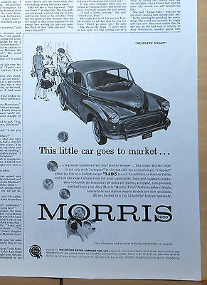 1960 magazine ad for Morris - Morris 1000, peppy easy to handle performance