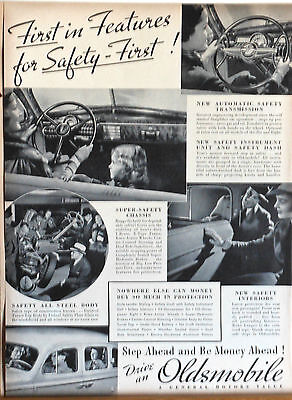 Vintage 1938 magazine ad for Oldsmobile - First in Safety Features,  photo ad