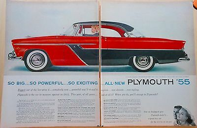 1954 two page magazine ad for Plymouth - 1955 Belvedere Sport Coupe, powerful