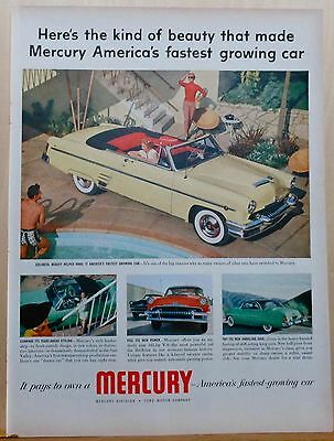 1954 magazine ad for Mercury - yellow convertible at poolside, colorful beauty