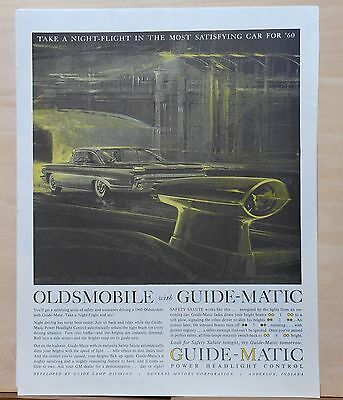 1960 magazine ad for Oldsmobile - Olds with Guide-Matic headlight control