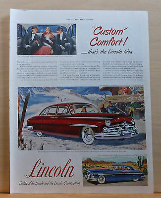 1949 magazine ad for Lincoln - red Cosmopolitan at ski lodge, Custom Comfort