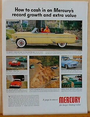 1954 magazine ad for Mercury - Yellow convertible photo ad, Longer Lasting value