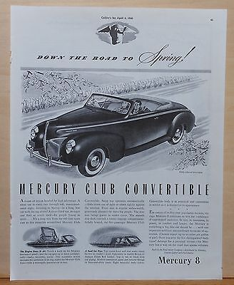 Vintage 1940 magazine ad for Mercury - Mercury 8 Club Convertible, Spring drive