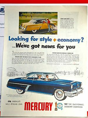 1952 magazine ad for Mercury - No. 1 Styling Star, Forerunner Styling, colorful