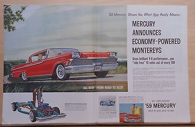 "1958 double page magazine ad for Mercury - red ""59 Monterey, Economy Powered"
