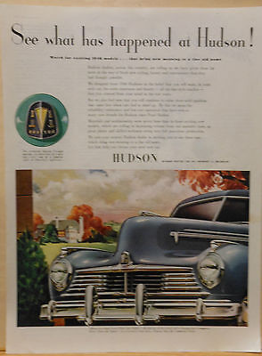 1945 magazine ad for Hudson - Commodore Sedan grille, What's happening at Hudson