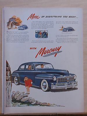 1947 magazine ad for Mercury - little girl at waterfalll, blue Mercury