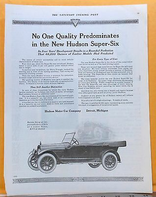 Vintage 1919 magazine ad for Hudson - Super Six, Improved, rounded perfection