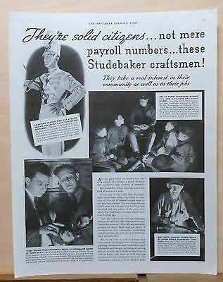 1937 magazine ad for Studebaker - workers are Boy Scout leaders, Solid Citizens