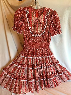 Vintage Partners Please Red w White Lace Ruffled Square Dance Dress Size 12