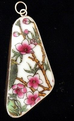 Ming/qing Dynasty Pottery Shard Pendant~Large-Floral