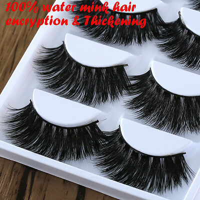 5Pairs100% Mink Hair Long Thickening False Eyelashes Lashes Makeup Extend Women