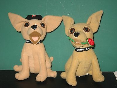 2 Taco Bell Chihuahuas By Applause 1 With Rose In Mouth, 1 With Beret Don't Talk