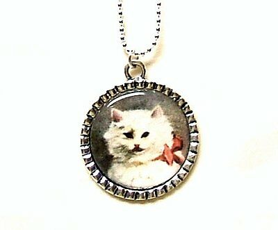 Beautiful White Kitten Cat Vintage Victorian Image Pendant Necklace Hand Crafted