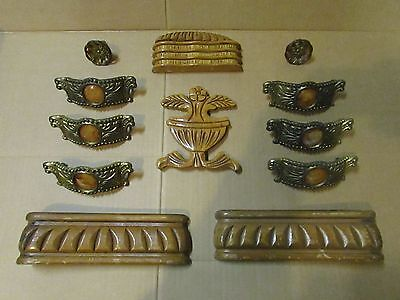 8 ART DECO WATERFALL DRESSER DRAWER PULLS BAKELITE + wooden crest header feet
