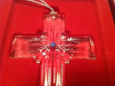 Authentic Lenox Crystal Cross Blue Pave Jewels Collection Ornament. Original Box