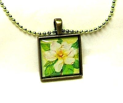 Southern Magnolia Tree Flower Blossom Hand Crafted Bronze Pendant With Necklace