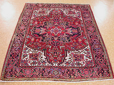 5 x 6 PERSIAN HERIZ Tribal Hand Knotted Wool TRADITIONAL RED NAVY Oriental Rug