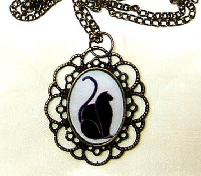 Art Deco Black Cat Silhouette Bronze Pendant And Necklace Artisan Crafted