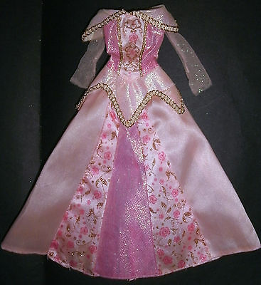 Barbie, Sindy, My Scene doll clothes: Pink & gold Princess dress, ball gown