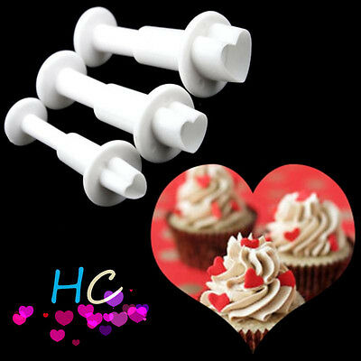 3pcs Loving Heart Shape Plunger Cutters Fondant Cake Decorating Mold Candy Mould