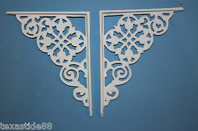 "(8)pcs, 7 1/2"" MEDIUM CAST IRON SHELF BRACKETS, DUTCH, WHITE, DECORATIVE,  B-30"