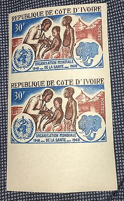 Ivory Coast 1968 #273 Vaccine Doctor Elephant,WHO Medicine,Imperf Pair Proof MNH