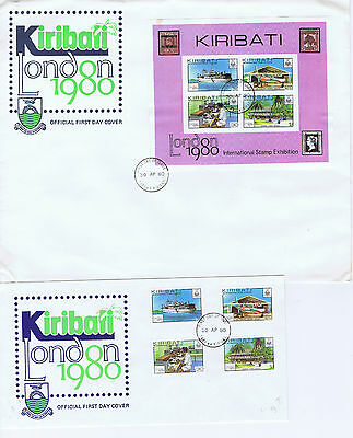 Pair of Kiribati 1980 London Stamp Exhibition first day covers, postal history