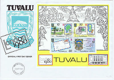 Tuvalu 1980 London Stamp Exhibition mini-sheet first day cover postal history
