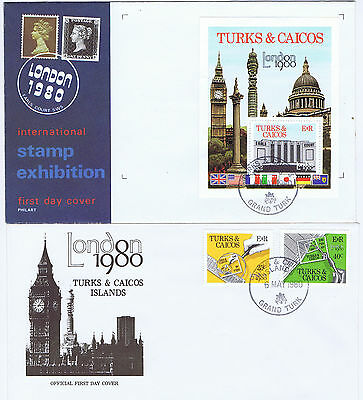 Pair of Turks & Caicos Is 1980 London Stamp Exhibition FD covers. Postal history