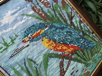 JEWEL BLUE KINGFISHER Completed PetitPoint/Needlepoint Tapestry Craft Collection