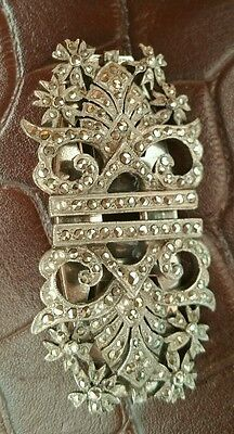Antique silver marcasite brooch 2 clips